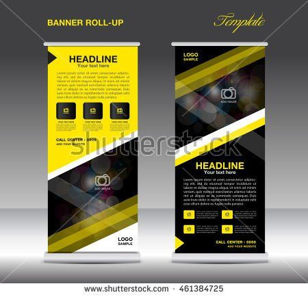 Yellow and black Roll Up Banner template vector, standy design ...