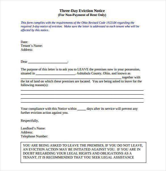 sample of eviction notices