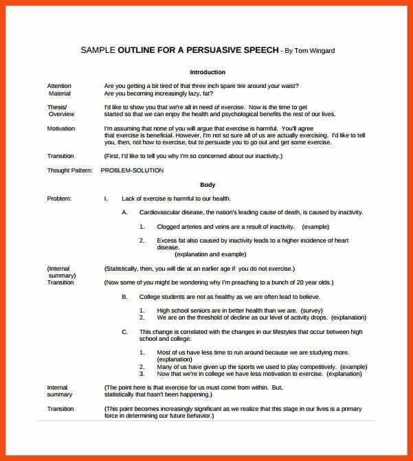 persuasive speech outline example | program format
