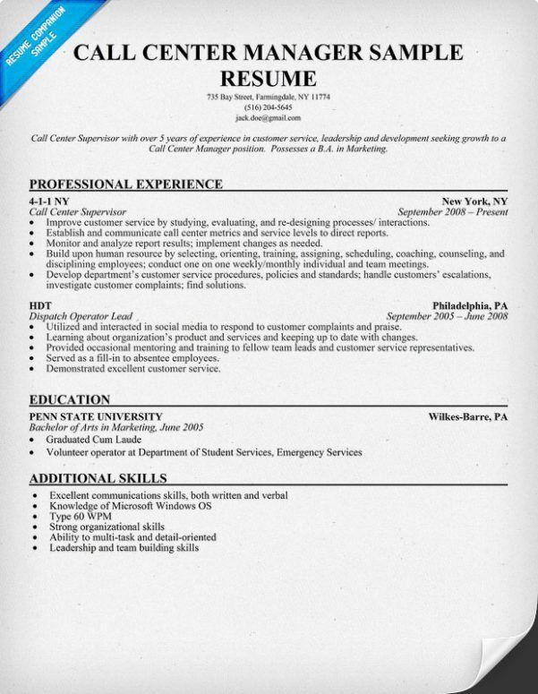 Call Center Supervisor Resume Supervisor Resume Resume Templates ...