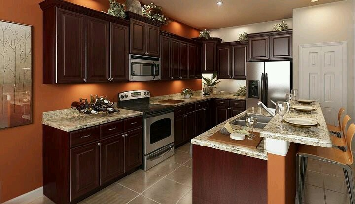 Elegant Orange Brown Kitchen    Love The Wall Color