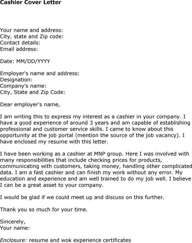 cover letter sample for cashier