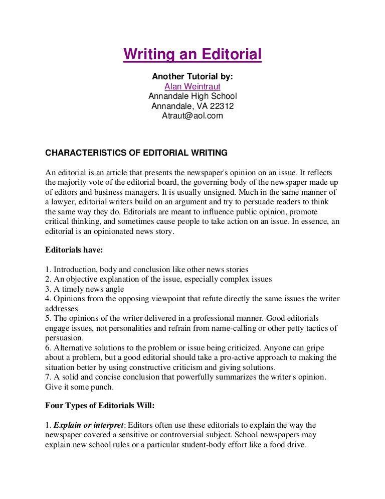 Writing an editorial