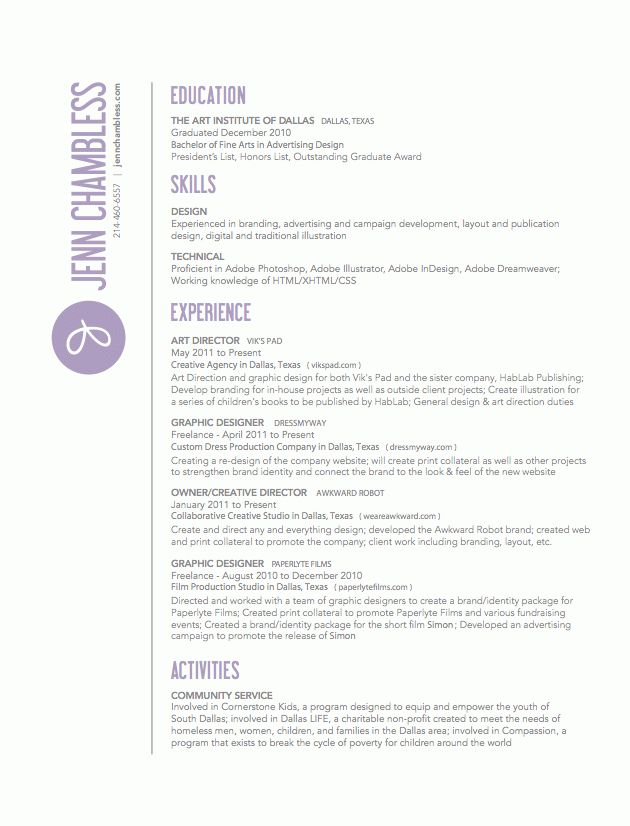 RESUME TIPS | Digital Arts & Design / Graphic Design