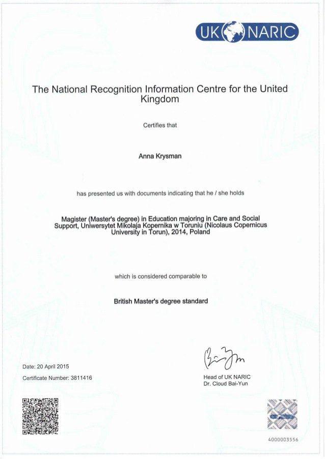 Master's degree certificate (2)