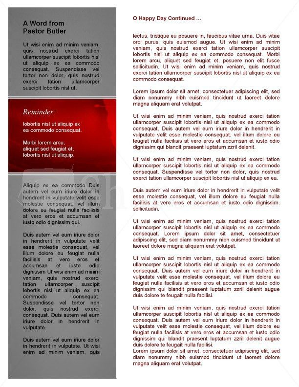 Missions Church Newsletter Template Template | Newsletter Templates