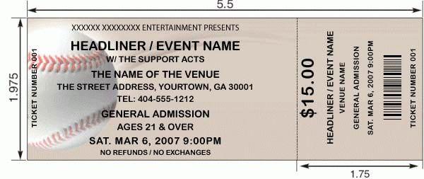 Custom baseball tickets   Ticket Templates   TA Ticket Printing
