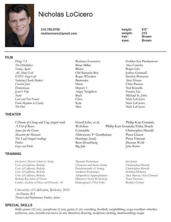 Dance Resume. How To Write An Acting Resume Resume Now Sample ...