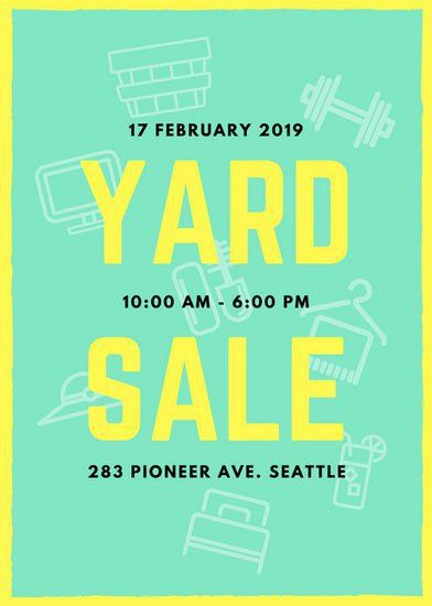 Mint Green and Yellow Yard Sale Flyer - Templates by Canva