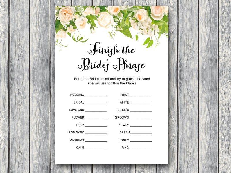 Wedding Shower Game Printable - Bridal Shower Game