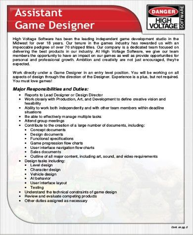 5+ Video Game Designer Job Description Samples - Examples in Word, PDF