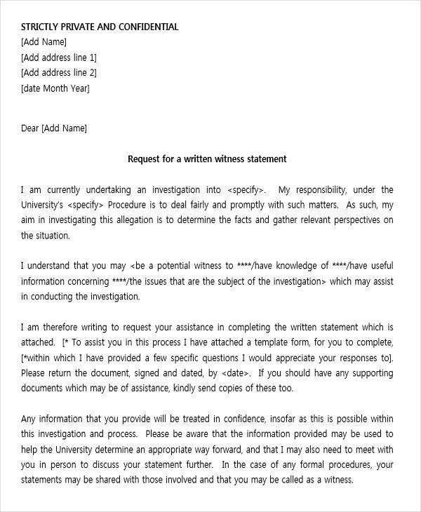 19 Witness Letter Format