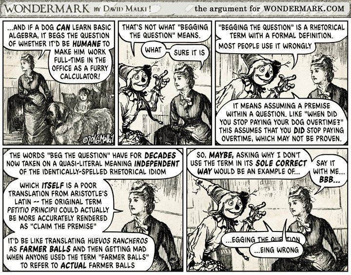 "Wondermark Comics on Twitter: """"That's not what 'begging the ..."