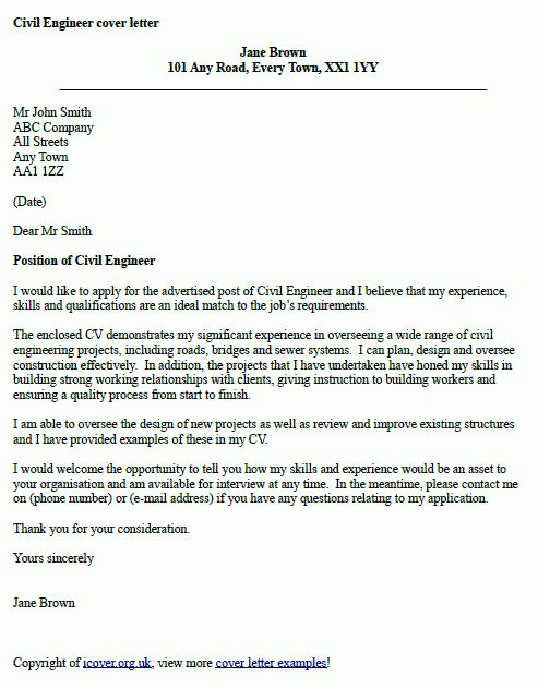 Cover Letter Example Engineer | Chemical Engineer Cover Letter ...