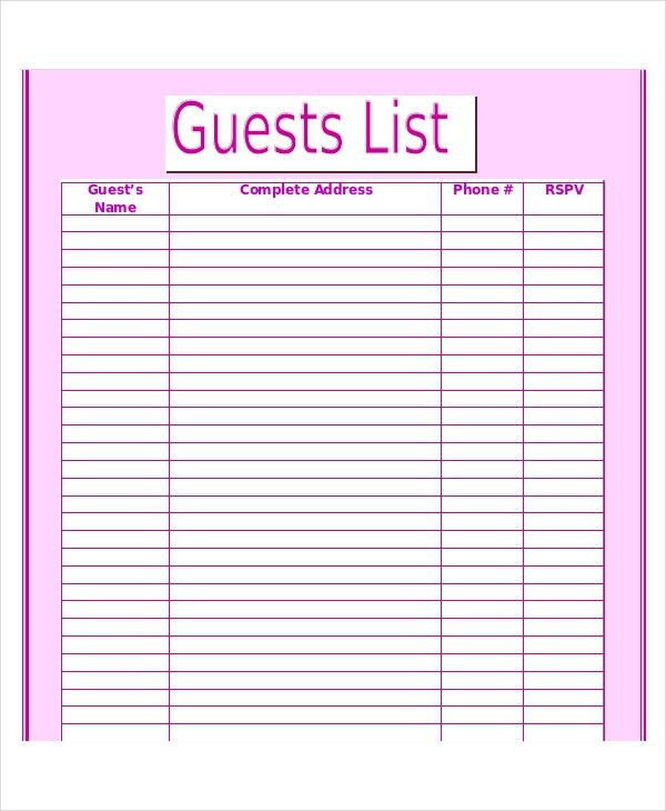 Printable Wedding Guest List Planner - Wedding Invitation Sample