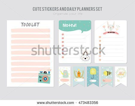 Cute Daily Calendar Do List Template Stock Vector 483152275 ...