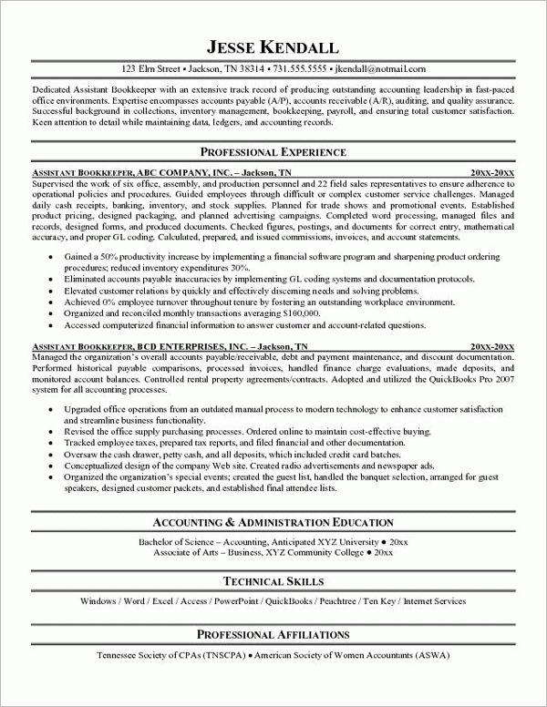 Bookkeeping Resume Samples JK Full Charge Bookkeeper experience ...