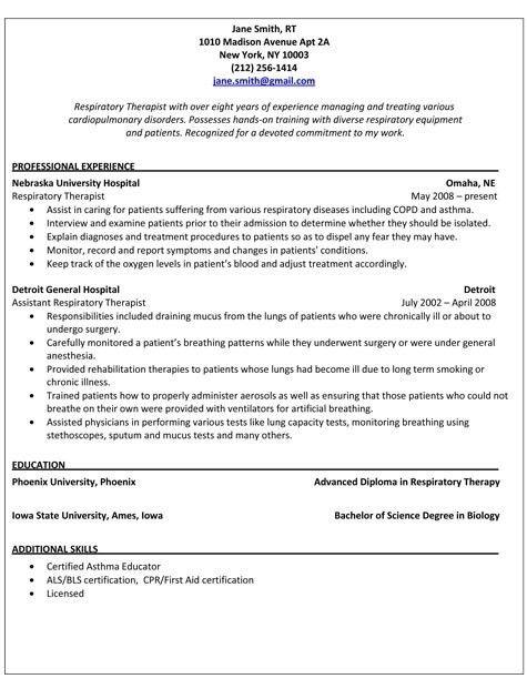 Home Design Ideas. er respiratory therapist resume samples. sample ...