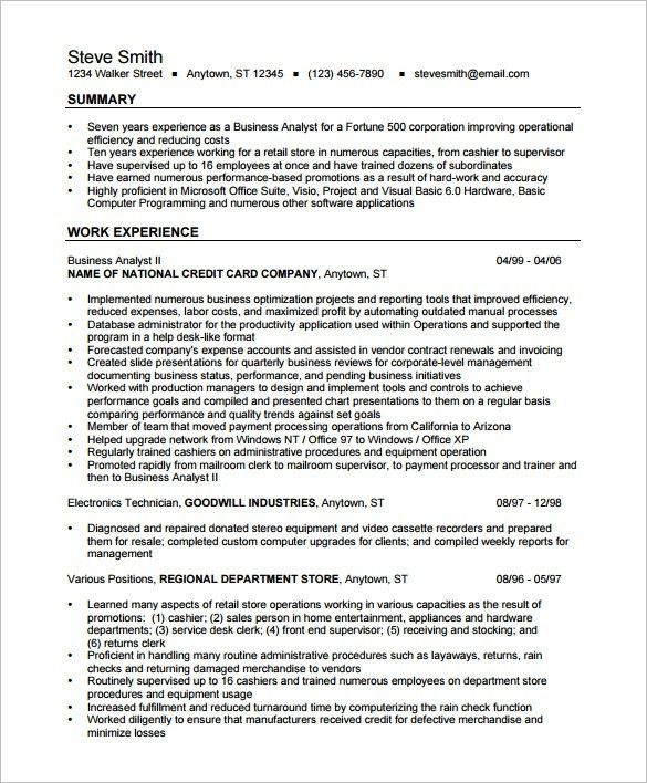 business analyst resume template 15 free samples examples - Business Resume Sample