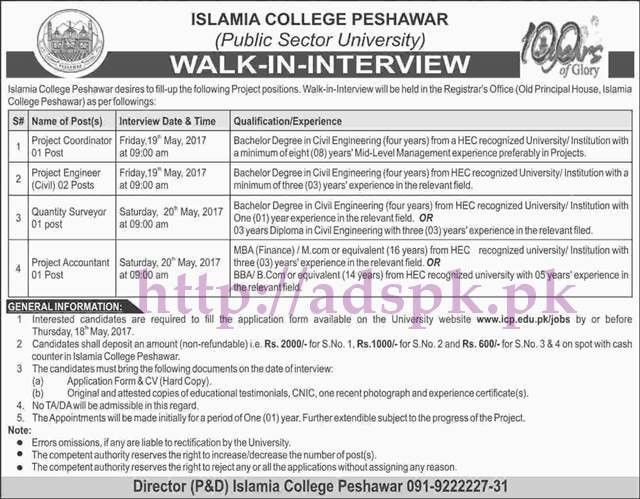 New Jobs Islamia College Peshawar Walk in Interview Jobs 2017 for ...