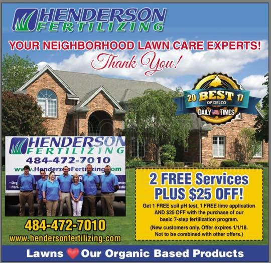 "Henderson Fertilizing Wins ""Best of Delco"" Award for Lawn Care ..."