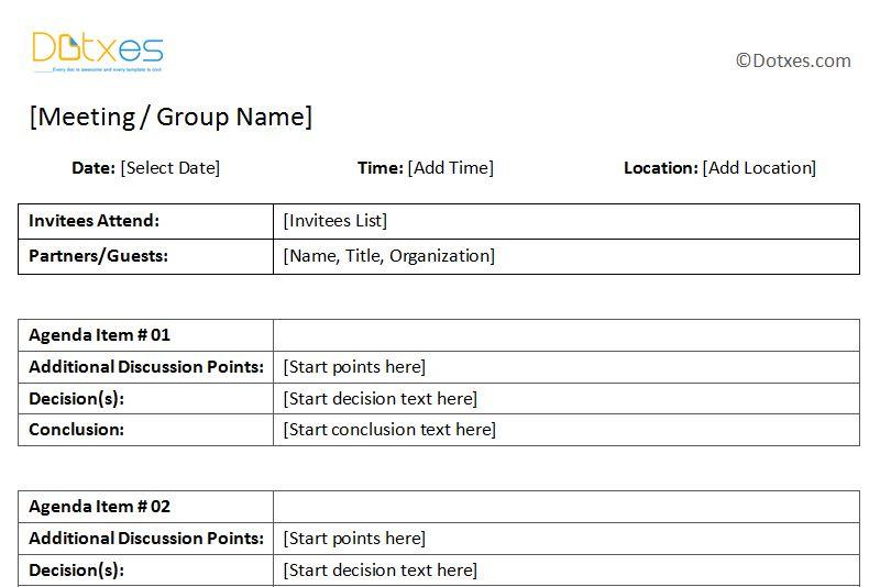General Meeting Minutes Template - Dotxes