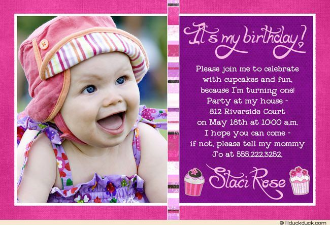 Baby Girl First Birthday Invitation Card - Festival-tech.Com