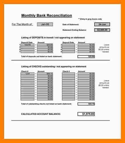 Excel Bank Reconciliation Template. bank account reconciliation ...