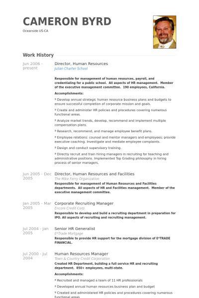 Director, Human Resources Resume samples - VisualCV resume samples ...