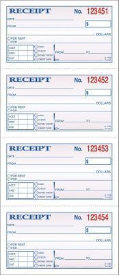 "Adams® Carbonless Money/Rent Receipt Books, 5-1/4"" x 11"", 2 Part ..."