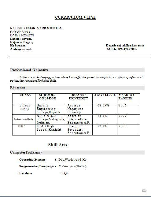 Curriculum Vitae Proforma Free Download Sample Template Example of ...