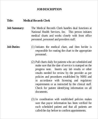 Medical Records Clerk Job Description Sample - 9+ Examples in Word ...