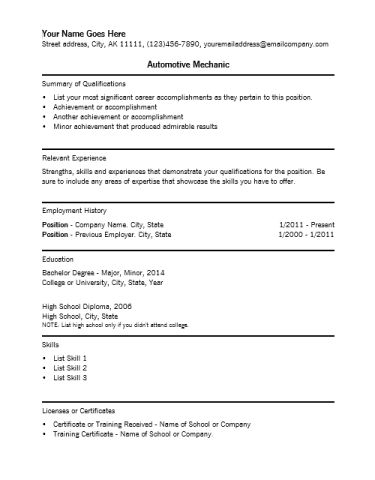 sample resume auto mechanic unforgettable automotive technician