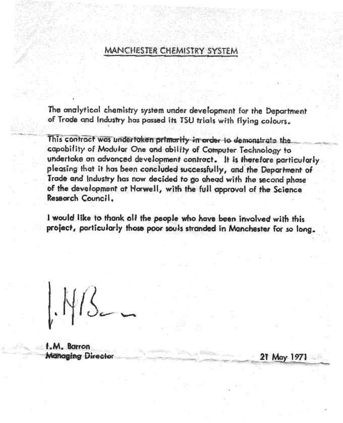 A letter from Iann Barron to Staff on the completion of the ...