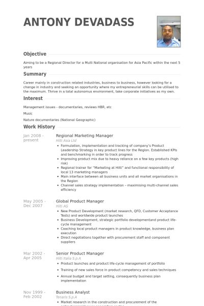 Regional Marketing Manager Resume samples - VisualCV resume ...