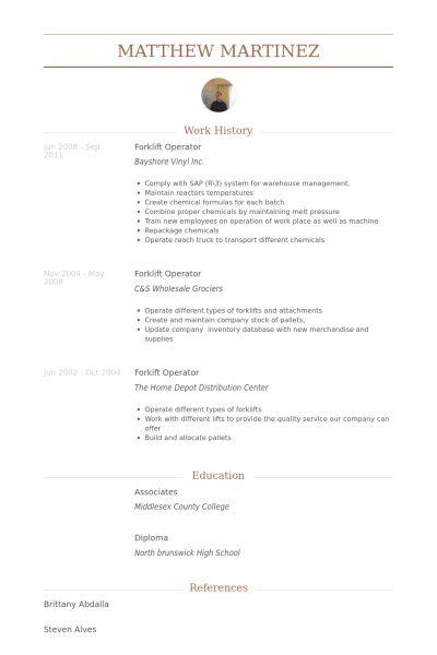 Forklift Operator Resume samples - VisualCV resume samples database
