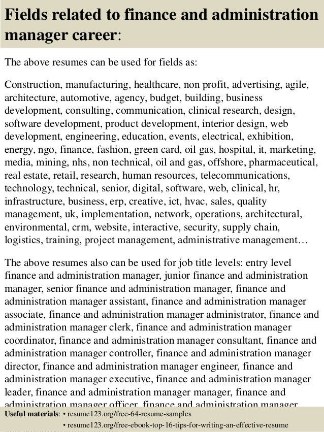 administrative manager resume samples