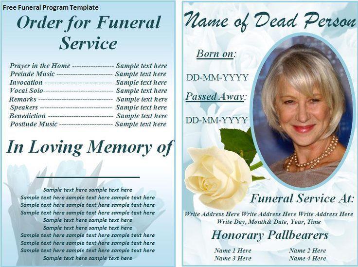 33 best Funerals images on Pinterest | Program template, Funeral ...