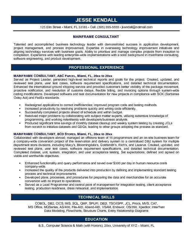 Systems consultant sample resume