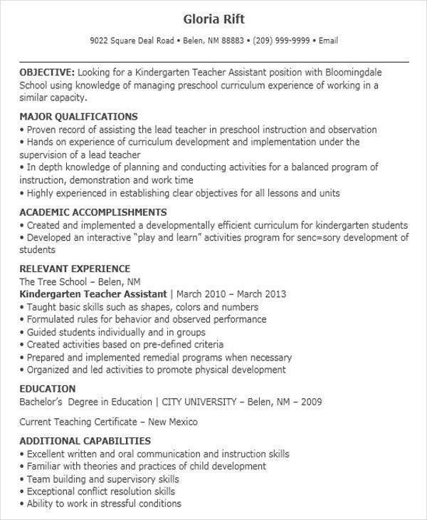 Lead Teacher Resume | Jobs.billybullock.us