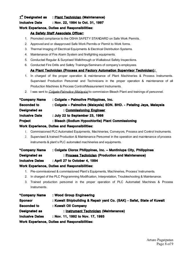 Arturo Pagatpatan CV - Production Process Operator and Instrumentati…