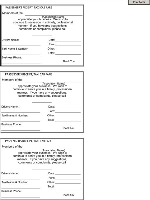 Blank Taxi Receipt | Templates&Forms | Pinterest | Receipt template