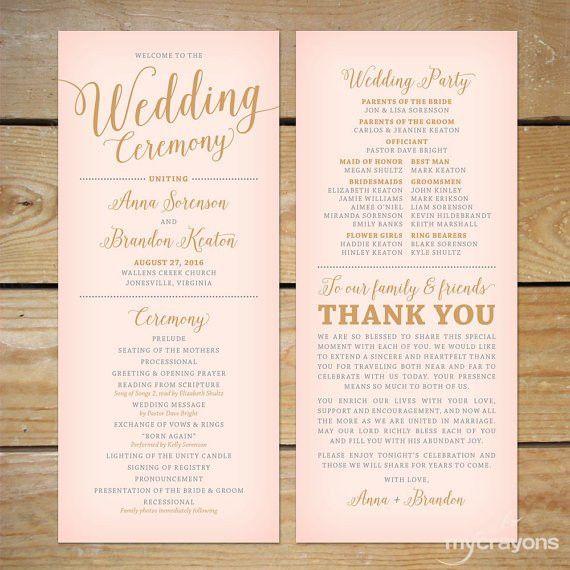 Printable Wedding Program } This Bella Script wedding program ...