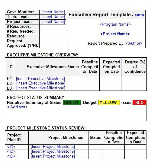 project status summary template