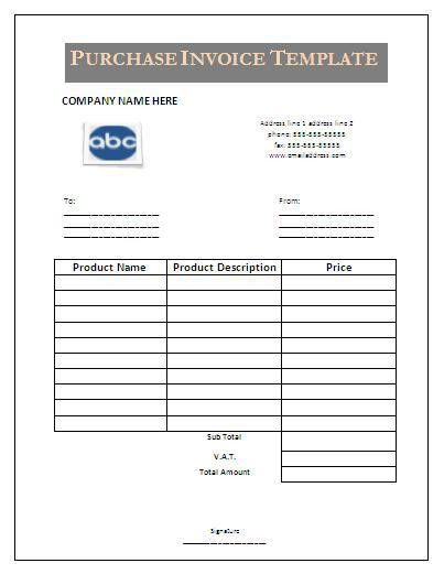 Purchase Invoice Template. Purchase Invoice Template Sample Agenda ...