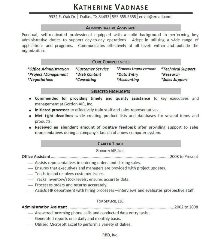 10 best Resume images on Pinterest | Administrative assistant ...