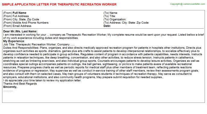 Therapeutic Program Worker Cover Letter