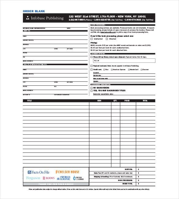 Blank Order Form Template – 34+ Word, Excel, PDF Document Download ...