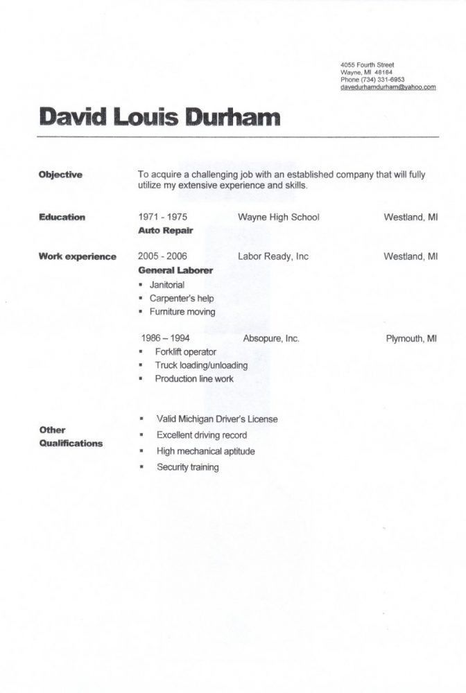 Stylist And Luxury General Laborer Resume 13 Objective For General ...