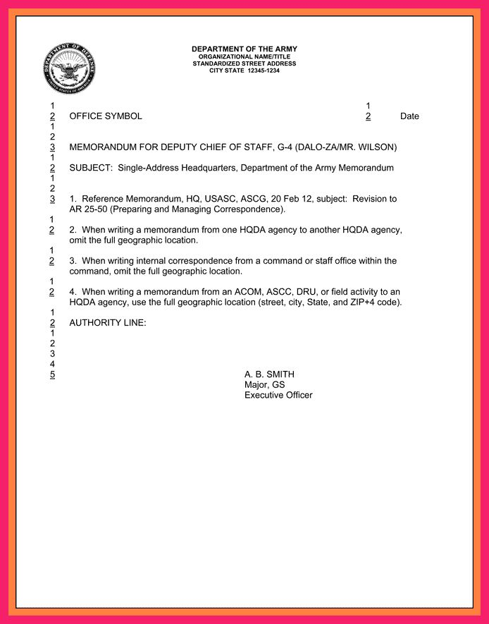 memorandum for record army | bio letter format